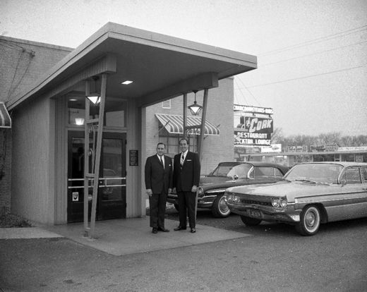 Harold Sokol (right) and the Mayor of Skokie at the main entrance of the Cork, November 15, 1961, Eric Bronsky