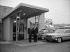 Harold Sokol (right) and the Mayor of Skokie at the main entrance of the Cork, November 15, 1961, Eric Bronsky