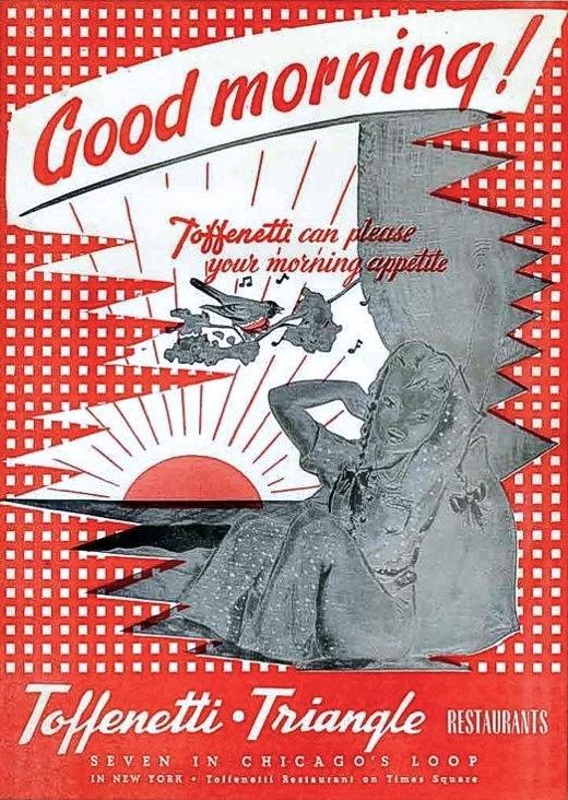 Toffenetti Menu 1950s